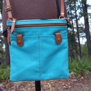Vera Pelle Italian Leather Turquoise Crossbody